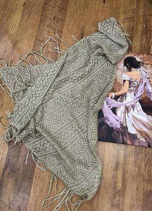 Бежевый молочный теплый шарф платок