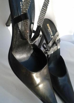 Италия simon bay шикарные кожаные туфли  мюли с камнями
