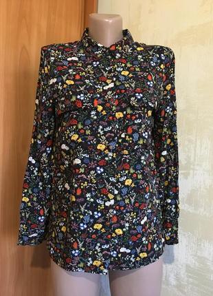Натуральная рубашка в цветочный принт,оверсайз!!
