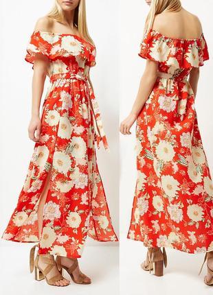 Платье river island asos с цветочным принтом, открытыми плечами и разрезами спереди  s-m