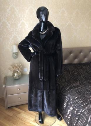 Норковая шуба lux marco varni, blackglama, 130 см, 44-48, халат