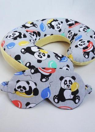 Двухсторонняя подушка для путешествий, в дорогу из плюша и хлопка - панды
