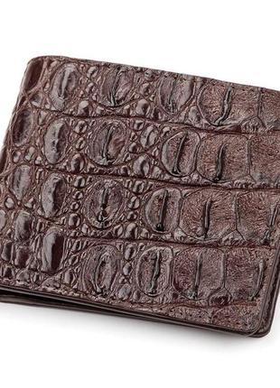 Портмоне crocodile leather 18046 из натуральной кожи крокодила коричневое, коричневый