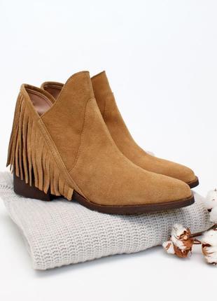 Замшеві черевики із бахромою zara trafaluc 26 см кожаные ботинки полусапожки