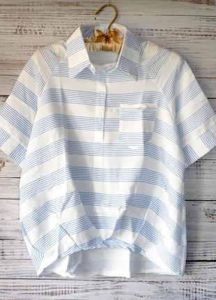 Блуза рубашка с защипами внизу