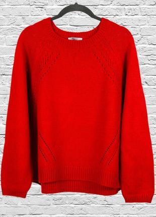 Красный свитер шерстяной, пуловер красного цвета