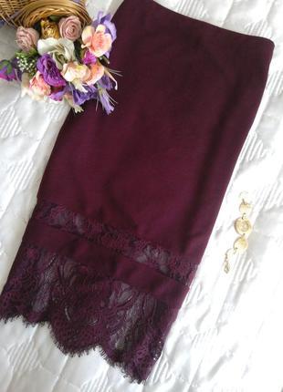 Шикарная юбка миди с кружевной вставкой!