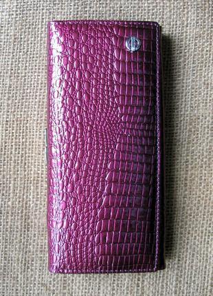 Большой кожаный лаковый кошелек light purple, 100% натуральная кожа
