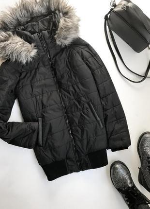 Удлиненная куртка с капюшоном new look / длинная тёплая курточка бомбер / черная дутая