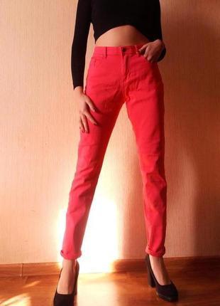 Распродажа!!!! офигенные малиновые джинсы в стиле мом