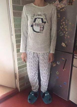 Пижама женская на байке с принтом
