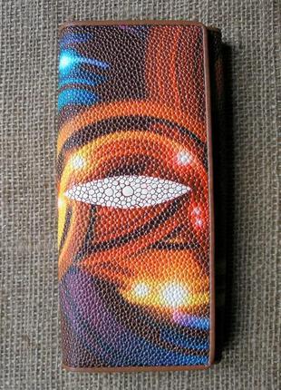 Большой кожаный кошелек скат, винил + 100% натур. кожа