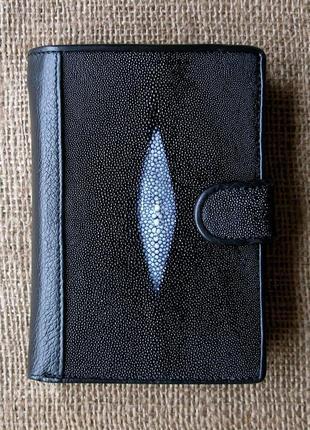 Стильный кожаный кошелек портмоне 100% кожа ската + телячья кожа, доставка бесплатно