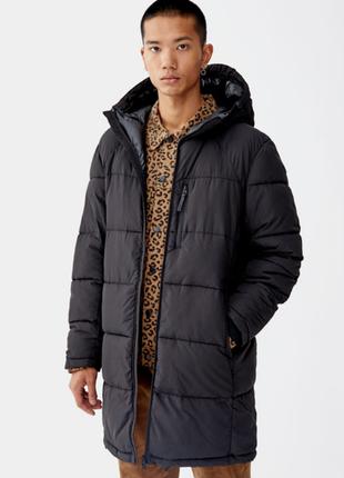 Мужская дутая куртка удлиненная зимняя pull and bear размер s m l xl