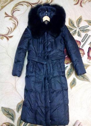 Натуральный брендовый пуховик-пальто