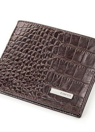 Портмоне мужское karya 17089 кожаное коричневое, коричневый