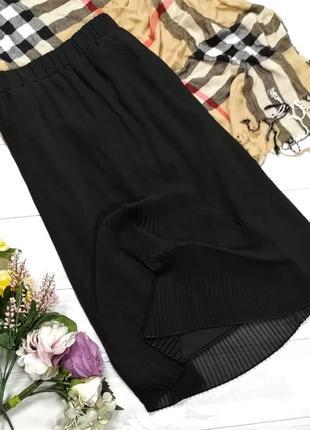 Шифоновая юбка плиссе в184014 tu размер uk12/40 (m/l) черная миди