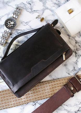 Мужской бизнес-клатч из натуральной кожи (портмоне, кошелек, сумка)