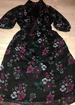 Шикарное воздушное платье цветы размер хс-с lindex