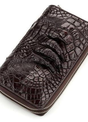 Кошелек-клатч crocodile leather 18173 из натуральной кожи крокодила коричневый