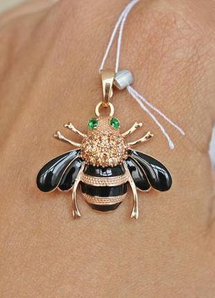 Серебряный подвес пчелка эмаль позолота