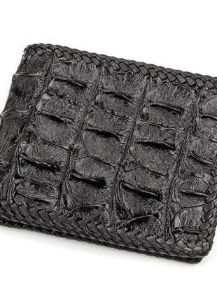 Портмоне crocodile leather 18176 из натуральной кожи крокодила черное, черный