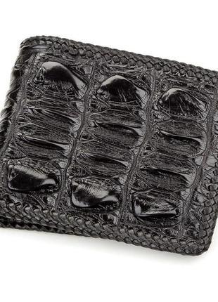 Портмоне crocodile leather 18186 из натуральной кожи крокодила черное, черный