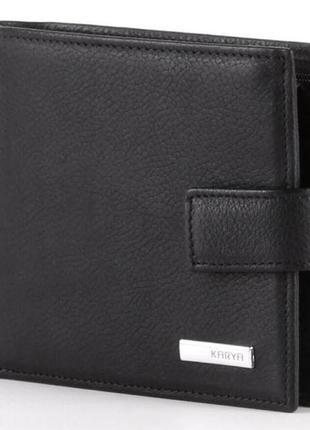 Портмоне мужское karya 17105 кожаное черное, черный