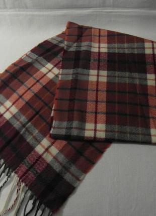 Мужской шарф в клетку  коричнево-бордовый  разноцветный