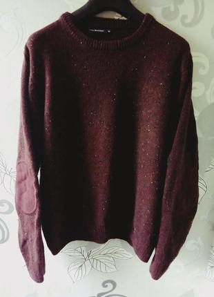 Бордовый марсала вязаный свитер с заплатками cedarwood state, кофта, реглан