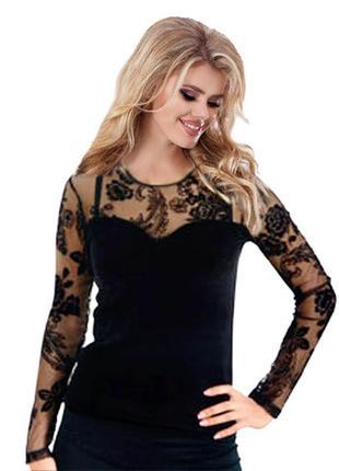 Модная бархатная блузка черного цвета, кофточка из бархата с гипюром, s/42