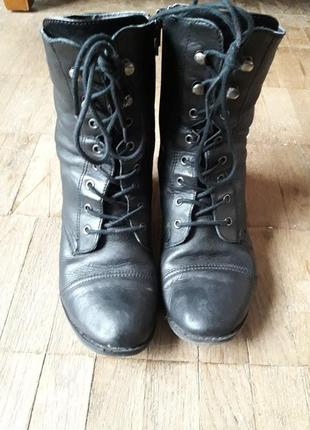 Ботинки черные из натуральной кожи roberto santi