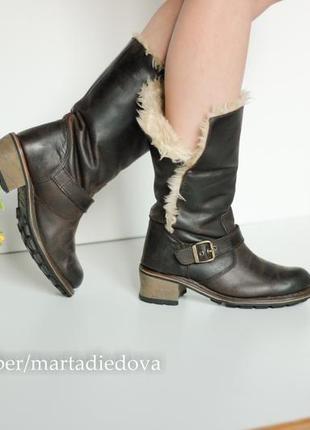 Кожаные ботинки сапоги полусапожки на меху, бренд cat оригинал