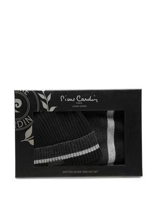 Шапка и шарф pierre cardin мужской набор, комплект брендовый шапка с шарфом
