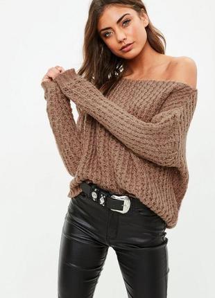 Оливковый укорочённый свитер missguided
