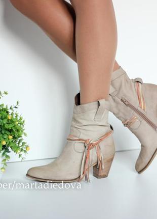 Кожаные ботинки полусапожки, натуральная кожа нубук, бренд via vai италия