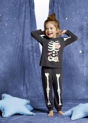 Хлопковая пижама lupilu р.98-104. светится в темноте!