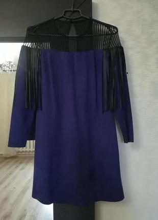 Офигенное замшевое платье с бахромой из кожзама!