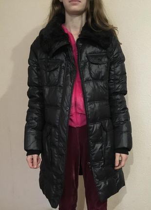 Черная куртка зимняя зефирка ovs пуховик с мехом1