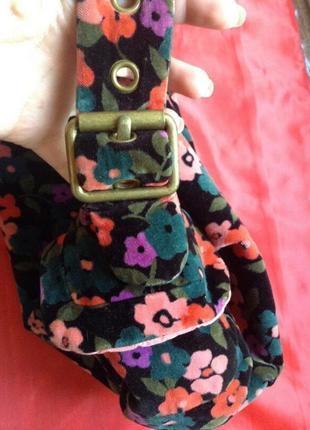 Очаровательная бархатная вельветовая сумка в цветочек gap возможен обмен3 фото