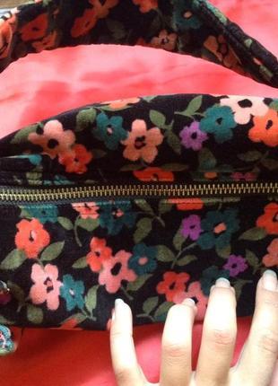 Очаровательная бархатная вельветовая сумка в цветочек gap возможен обмен4 фото