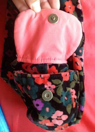 Очаровательная бархатная вельветовая сумка в цветочек gap возможен обмен5 фото
