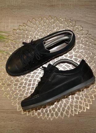 (38/24,5см) ecco! кожа/замша! комфортные фирменные спортивные туфли на шнуровке, мокасины