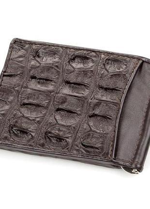 Зажим crocodile leather 18170 из натуральной кожи крокодила коричневый