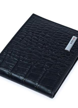 Зажим мужской karya 17093 кожаный черный
