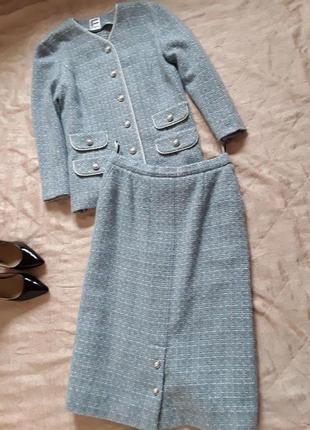 Mast have каждой модницы! - твидовый костюм небесно-голубого цвета, 40 % шерсть!