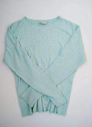 Мятный бирюзовый базовый свитер кофта оверсайз