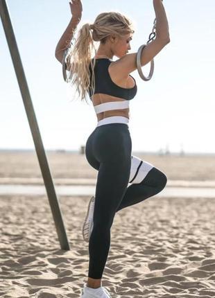 Акция !!! шикарный черный набор /костюм/лосины   топ для фитнеса, йоги, танцев