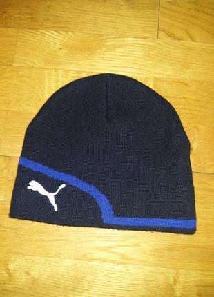 Теплая двойная шапка puma на объем головы до 58 см