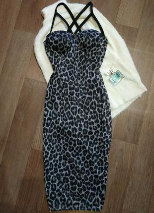 Леопардовое платье миди